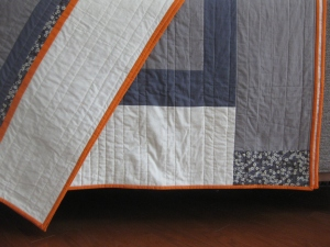 gray, bone and orange twin quilt, finished March 2014